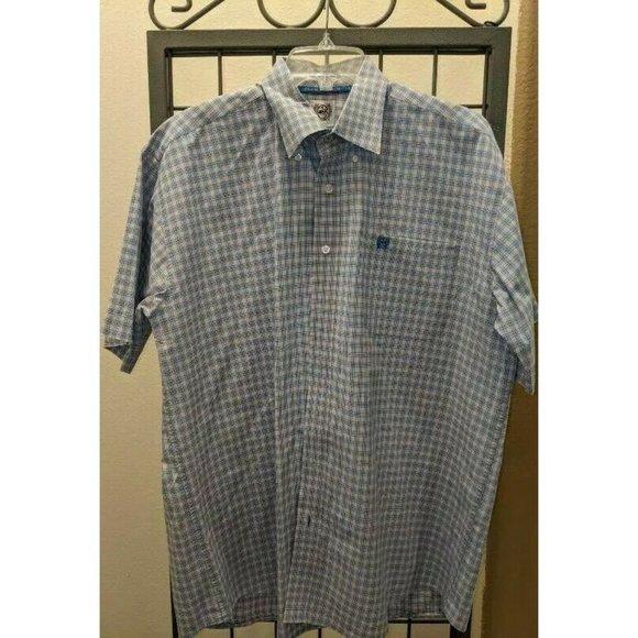 Cinch Mens Oxford Shirt Blue Plaid Short Sleeve Bu